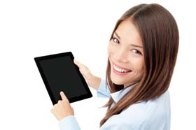 Tablet computer woman
